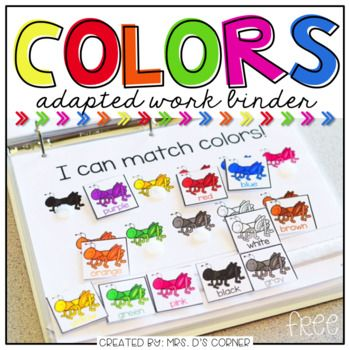 FREE Colors Adapted Work Binder - FREE * Functional, differentiated skill work to practice identifying colors.