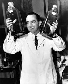 Jonas Salk, Could be whiskey . . . but those jars are most likely involved with his development of the Polio Vaccine.