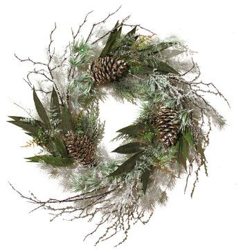 Botanic Industrial Co. Wreath With Split Pinecones and Iced Branches - traditional - holiday outdoor decorations - Wayfair