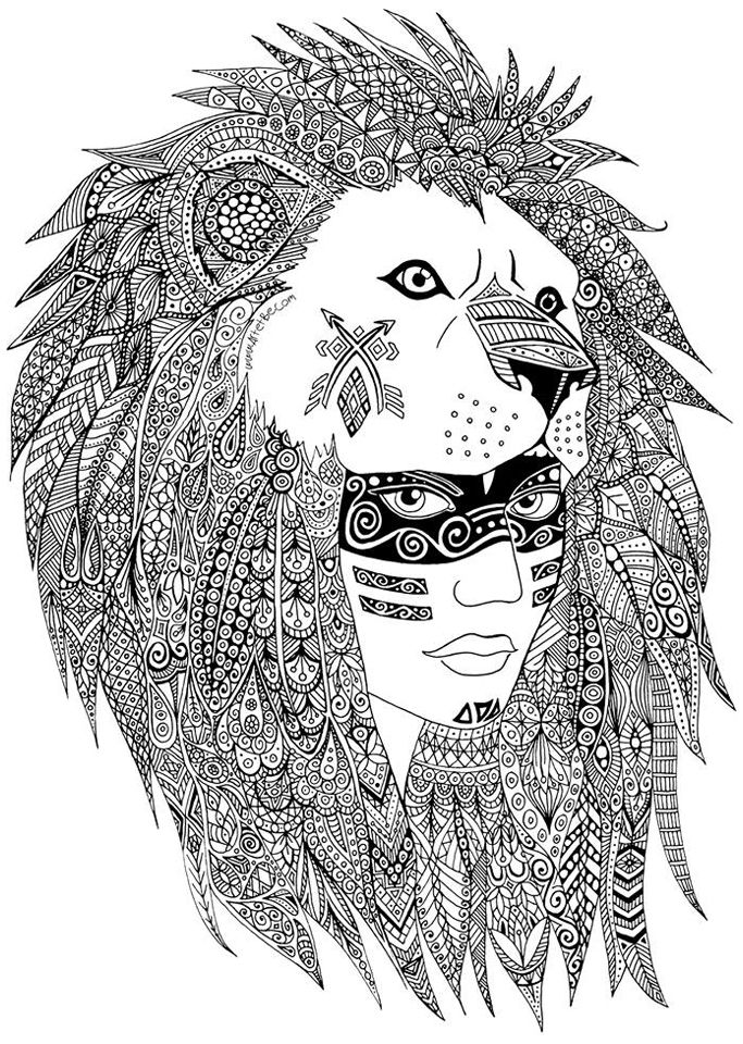 A Leader Of A Native American Tribe Maked With Heart And Zentangles