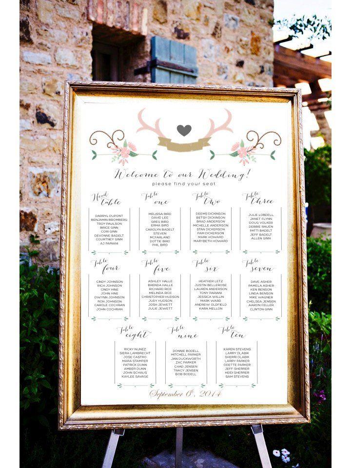 Antler Inspired Rustic Wedding Seating Chart
