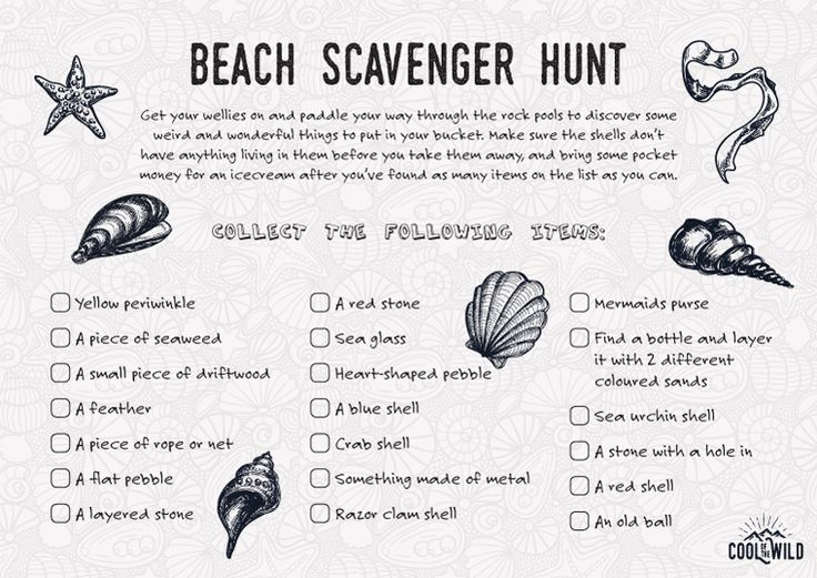 Keep your little monsters out of trouble with this printable beach scavenger hunt.