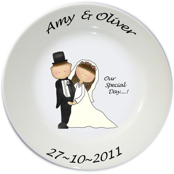 Wedding or Anniversary Personalised Plates AU$59.90 with Free Delivery on Red Wrappings