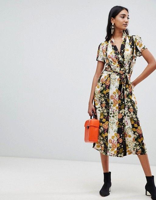 7a69a2ddc2939 Mango button down midi dress in mixed florals | Fashion | Dresses ...