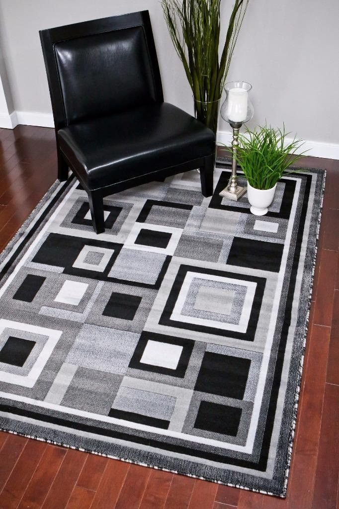 Gray Square Design Contemporary Area Rugs | Rugs Sale - Bargain Area Rugs