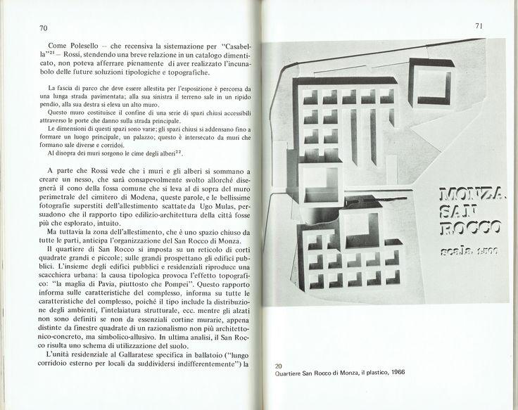 Giorgio Grassi, Aldo Rossi, Project of San Rocco housing unit, Monza (MB), 1966 (Vittorio Savi, L'architettura di Aldo Rossi, Milano, Franco Angeli, 1976, p. 71)