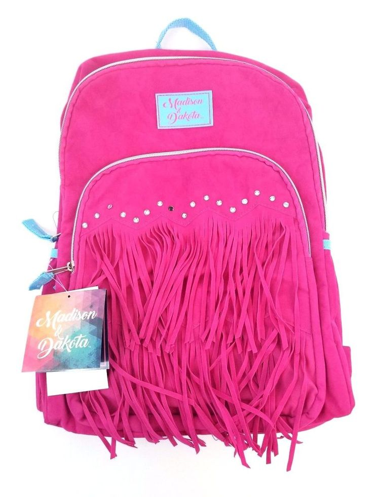 Girls Backpack Madison & Dakota Fringe Suede Dark Pink Teal New With Tag  #MadisonDakota