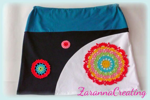 A line handmade women s skirt with colorful applique diy clothes