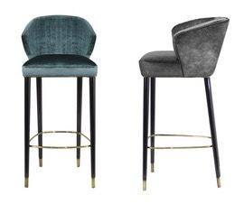Nuka Bar Chair  Contemporary, MidCentury  Modern, Transitional, Upholstery  Fabric, Wood, Stools, Ottomans  Pouf by Carlyle Collective
