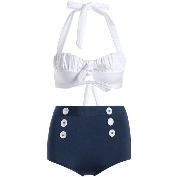 Halter High Waist Buttoned Bikini ($26) ❤ liked on Polyvore featuring swimwear, bikinis, bikini two piece, halter-neck tops, halter-neck bikinis, high rise bikini and high waisted bikini swimwear