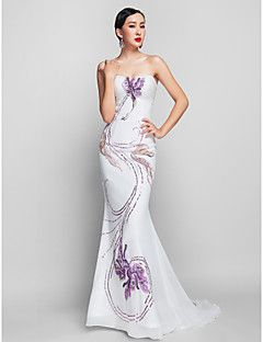 TS Couture® Prom / Formal Evening / Military Ball Dress - Vintage Inspired Plus Size / Petite Trumpet / Mermaid Strapless Sweep / Brush Train Chiffon – USD $ 329.99