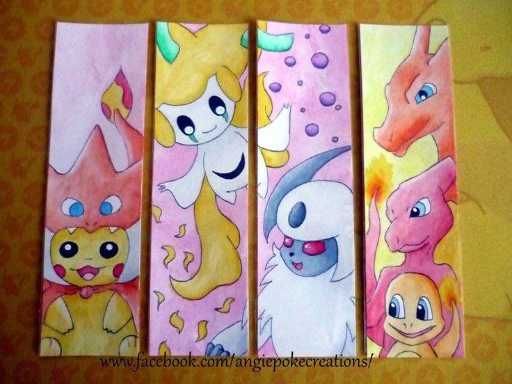 Marque-Pages Pokemon Dessin Peinture Aquarelle : Pikachu Poncho Mega Dracaufeu, Jirachi, Absol, Salamèche, Reptincel, Dracaufeu