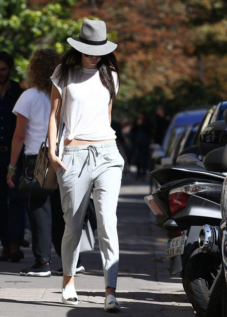 Kendall.. white tee, Zara Drawstring Trousers, Celine Nano Bag, Miu Miu Metal Cap Toe Sneakers, and Rag & Bone Floppy Brim Fedora..... - Celebrity Fashion Trends