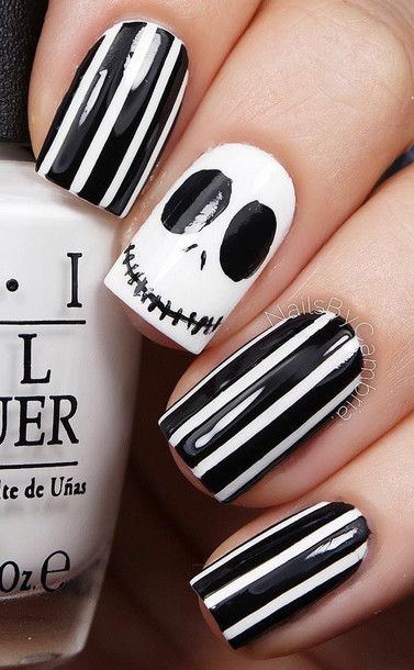 Nail polish: nail art stripes tim burton skeleton mr jack black and white halloween makeup halloween