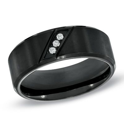 Men's 8.0mm Diamond Accent Comfort Fit Wedding Band in Black Ion-Plated Stainless Steel - View All Rings - Zales