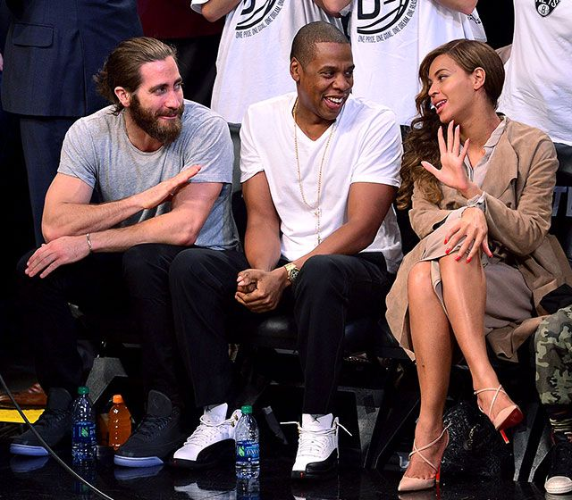 Beyonce and Jay Z dish with Jake Gyllenhaal courtside at Brooklyn's Barclays Center during an NBA playoff game on May 10