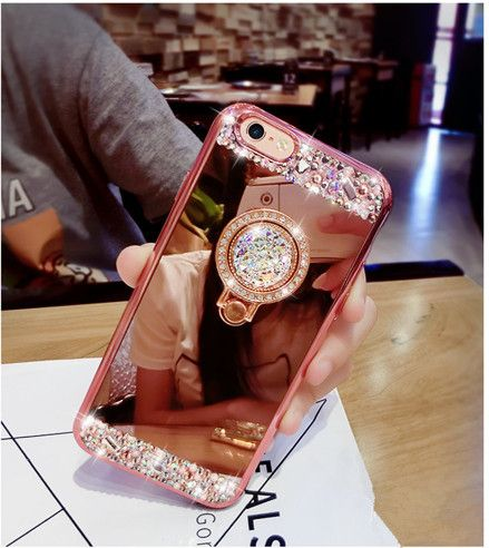 For iPhone 7 Case Luxury Girls Women Diamond Glitter Mirror Case With 360 Phone Ring Stand Soft Case For iPhone 7 6 6S Plus 5S