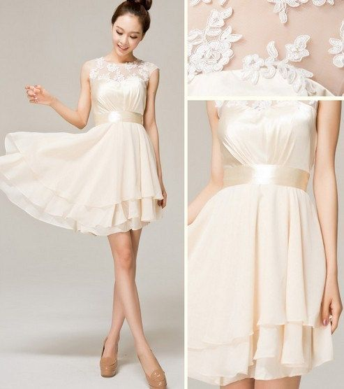 Hot selling lace champagne chiffon bridesmaid dress for Champagne lace short wedding dress