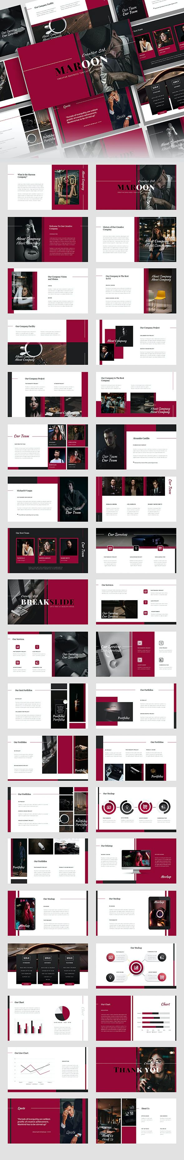 Marron – Creative Business PowerPoint Template Preview