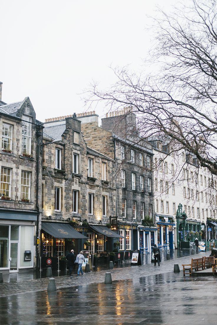Edinburgh, Scotland on a cold wet morning.