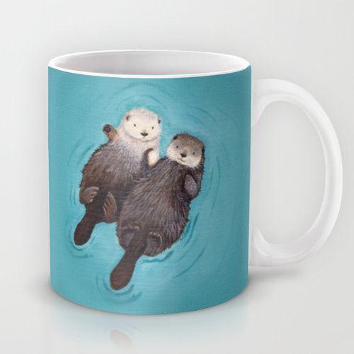 Best Secret Santa Gift EVER - Otters Holding Hands Mug - Thank you Diane! ;)