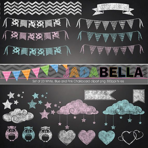 Instant Download Set of 29 White, Blue and Pink Chalkboard Clipart PNG 300dpi hi res files