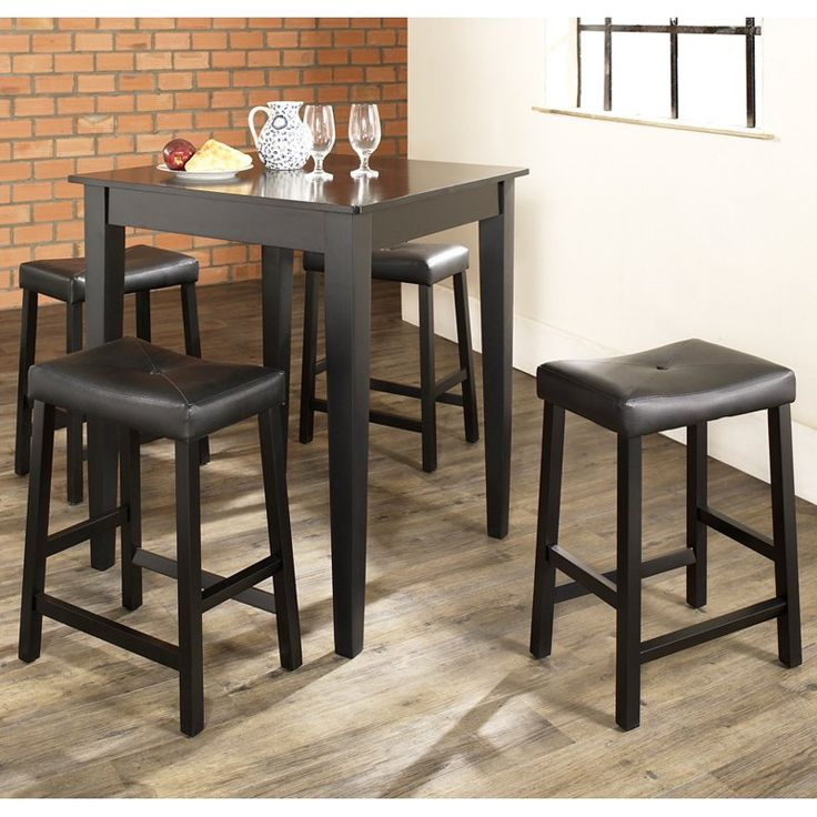 crosley 5piece pub dining set with tapered leg and upholstered saddle stools kd520008 pub dining