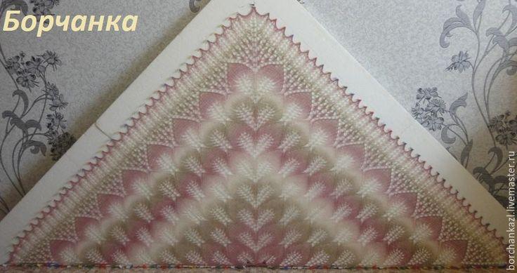 Купить Шаль Нежность - розовый, бежевый, серый, белый, шаль, ажурная шаль, шерсть