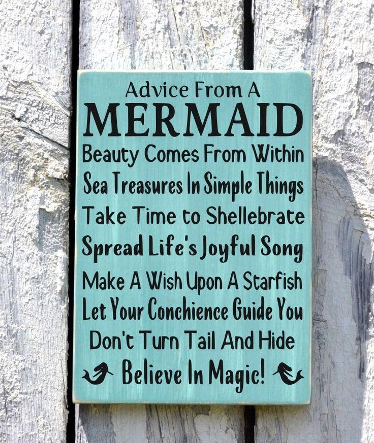 Advice From A Mermaid -Beach Decor - Beach Sign - Beach House Wall Art - Nautical Decor - Mermaid Sign