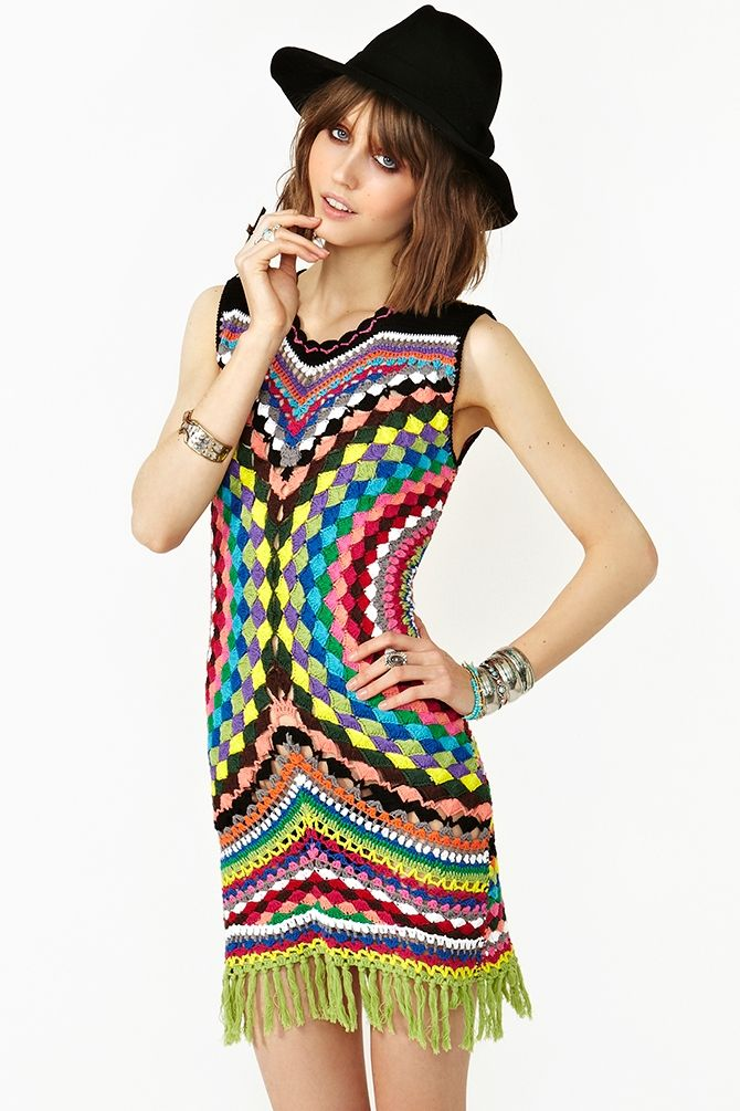 Psychedelic Crochet Dress $250.00  Inspiration!  More pics of back and close-up of pattern.