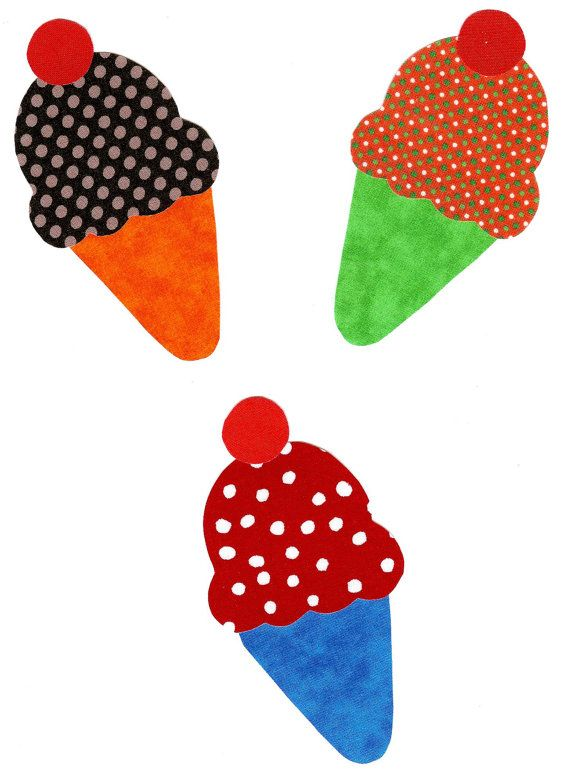 Ice cream cone iron on appliques small diy by - Applique cucina ...
