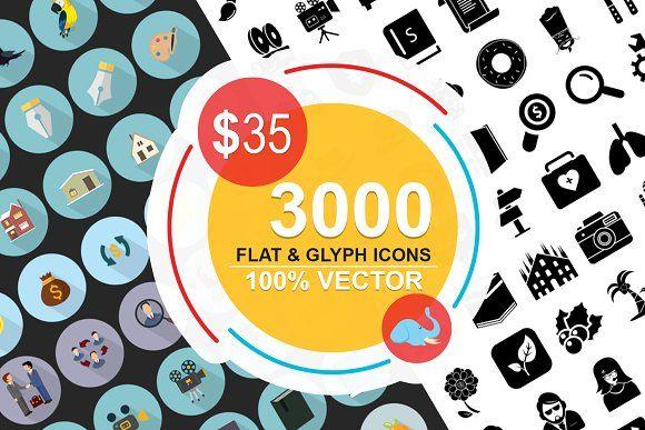 Jumbo Flat-Glyph Icons Bundle by Jumbo Icons on @creativemarket