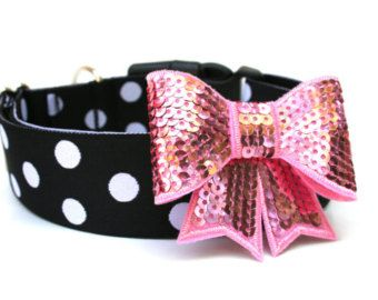 """Bow Dog Collar 1.5"""" Black and White Polka Dot Dog Collar With Bow Attachment Pink Silver Black"""