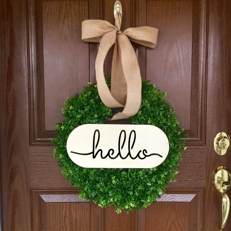 MOST PINNED Wreath on PINTREST!! Welcome Boxwood Wreath, Artificial Boxwood Wreath, Hello Boxwood Wreath, Hello Wreath,
