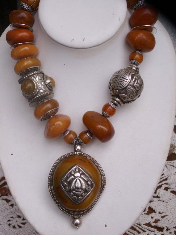 OOAK  Exclusive Nepalese tribal ethnic necklace by beadartaustria, $470.00