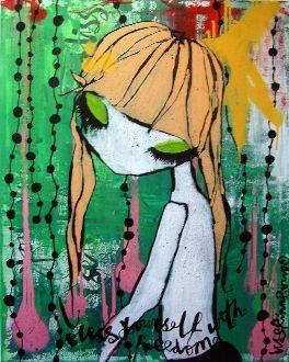 "Painting ""Yoshi"" by Lisa Rinnevuo at art gallery Konst och Folk in Stockholm"