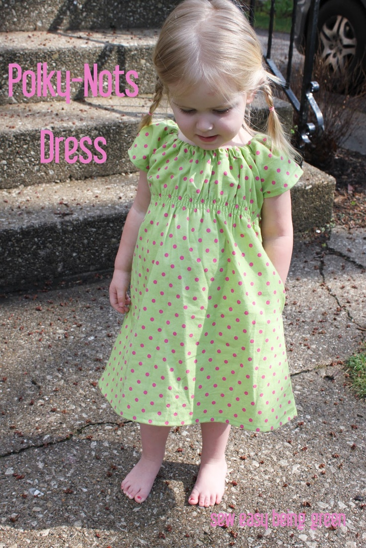 sew easy being green: Polky-Nots Dress Tutorial    April you should use this pattern for the black eyelet and just tie a ribbon around the middle instead of the elastic waist.  You could leave off the pockets too to make it simpler.