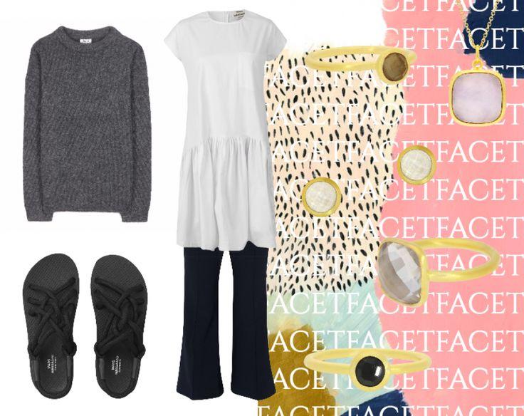 #hviskfacet - Get the jewellery here: http://hvi.sk/r/5nWV #hvisk #hviskstyling #hviskstylist #hviskjewellery #jewellery #gems #facet #gold #ring #necklace #earsticks #fashion #autumnfashion #AW16 #sandals #madsnørgaard #acne
