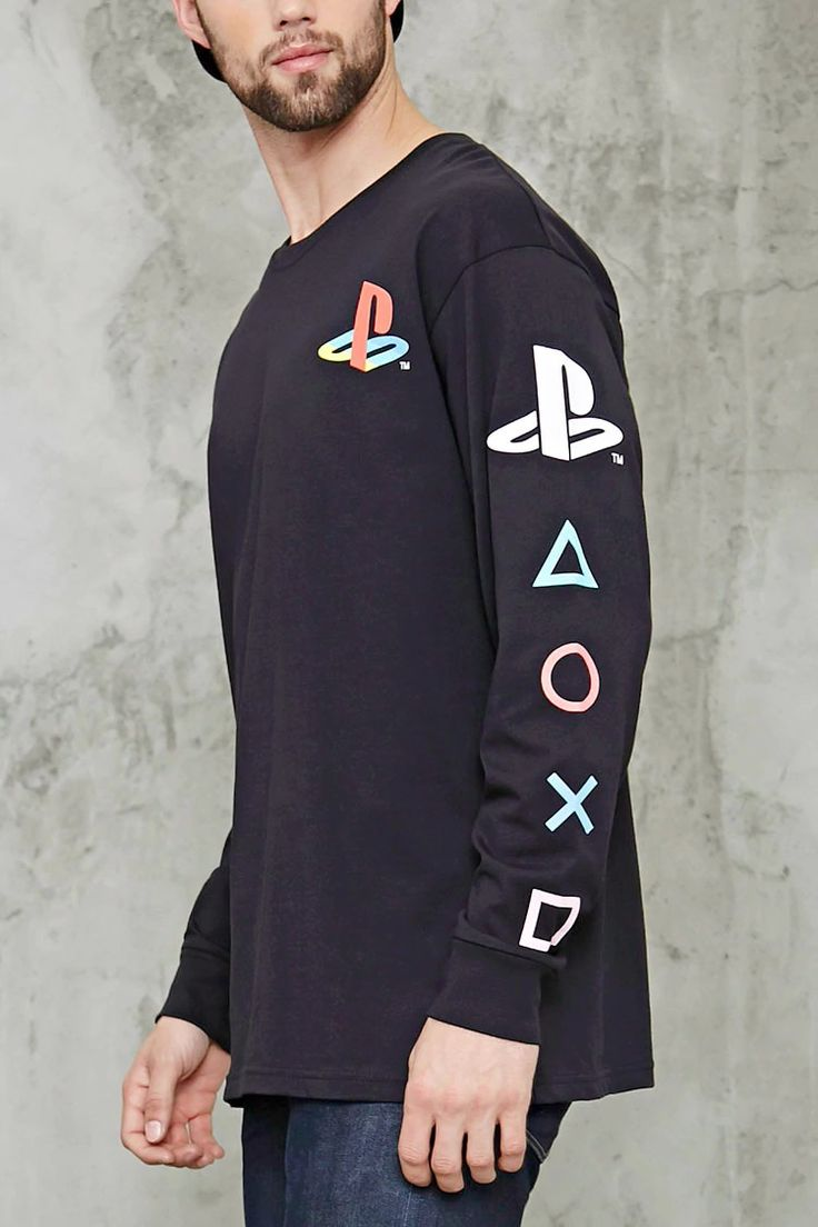 Design your own t-shirt long sleeve - A Long Sleeve Tee Featuring The Playstation Logo Graphic On The Chest And Sleeves