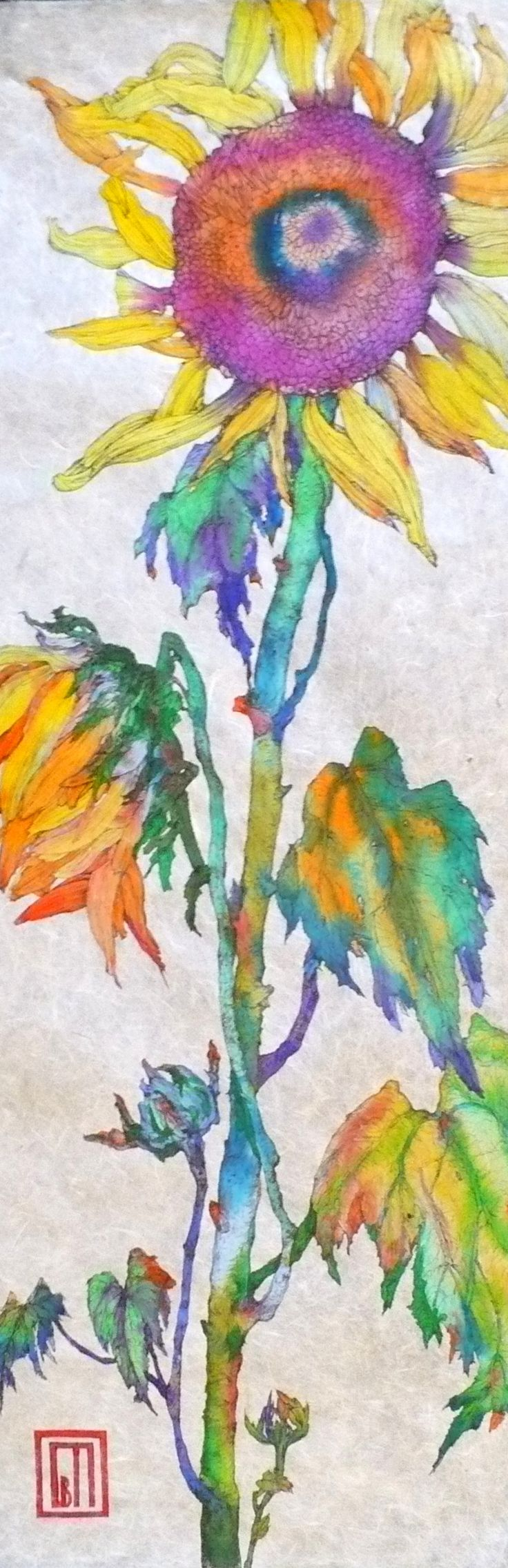 i love the purple and yellow and how the smoosh into each other... .Watercolor sunflower