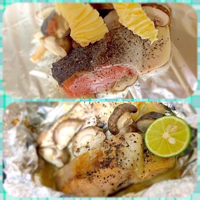 鱒(ます)っていう魚、知ってる?鮭より小さくて身が柔らかい魚だよ。ホイル焼きはバーベキューにもgood! - 38件のもぐもぐ - 鱒(ます)とキノコのホイル焼きバター&すだち添え by つきっズ料理教室