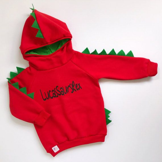 My dinosaur hoodie personalized with a Name of your kid is the perfect outfit for your little Dino!! What child wouldnt want to pretend they are a dinosaur? This dinosaur shirt offers the same features as a regular shirt but all the imaginative possibilities of a costume. My dino shirt is all handmade from start to finish, so you wont be getting a premade sweatshirt.   !!! Girl jogger, Boy jogger available here: https://www.etsy.com/de/listing/459735238   ►TO ORDER  ...