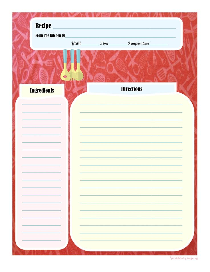 17 best images about printable recipe cards on pinterest for Free printable full page recipe templates
