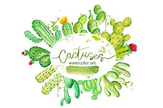 Digital clipart cactuses. Watercolor digital cactuses, Watercolor hand-drawn cactuses, Digital clipart, Digital art, Cactus Print, scrapbook, Watercolor cactus clipart