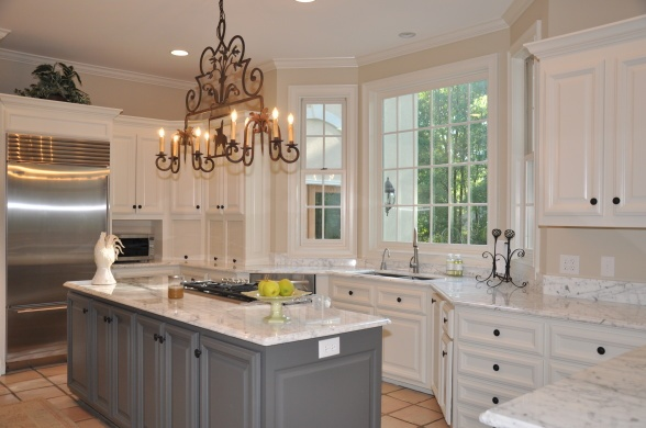 Modern French Marble Kitchen, Grey is Benjamin Moore Kendall Charcoal