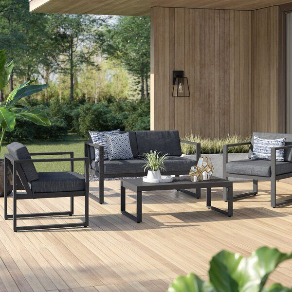 Mirando 4 Piece Sofa Seating Group With Cushions Sofa Set Patio