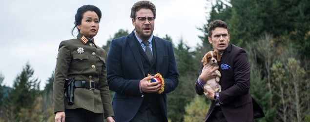 "(L-R) Diana Bang, Seth Rogen, and James Franco in ""The Interview"" (Ed Araquel/Columbia Pictures/Everett Collection)"