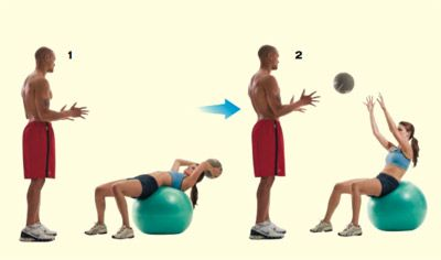 Exercise with a friend - SWISS-BALL CRUNCH AND OVERHEAD TOSS  -  Have her lie on a Swiss ball and hold a medicine ball with her arms extended over her head. As she crunches up, have her throw the medicine ball at you, standing a few feet in front of her. Catch it, toss it back, repeat. Do two sets of 15 reps.
