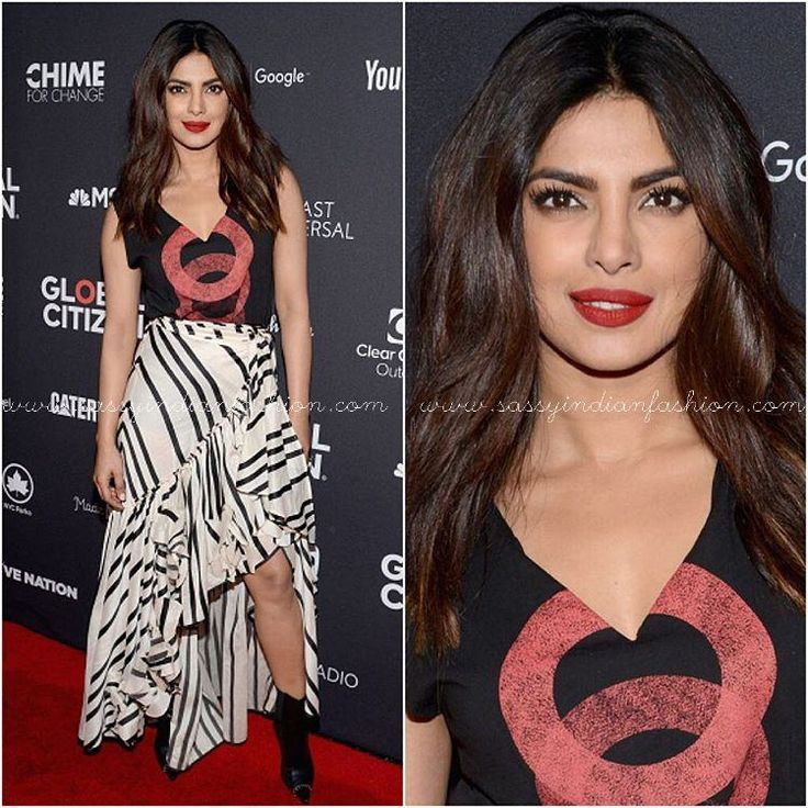 Priyanka Chopra Black and White Striped Skirt