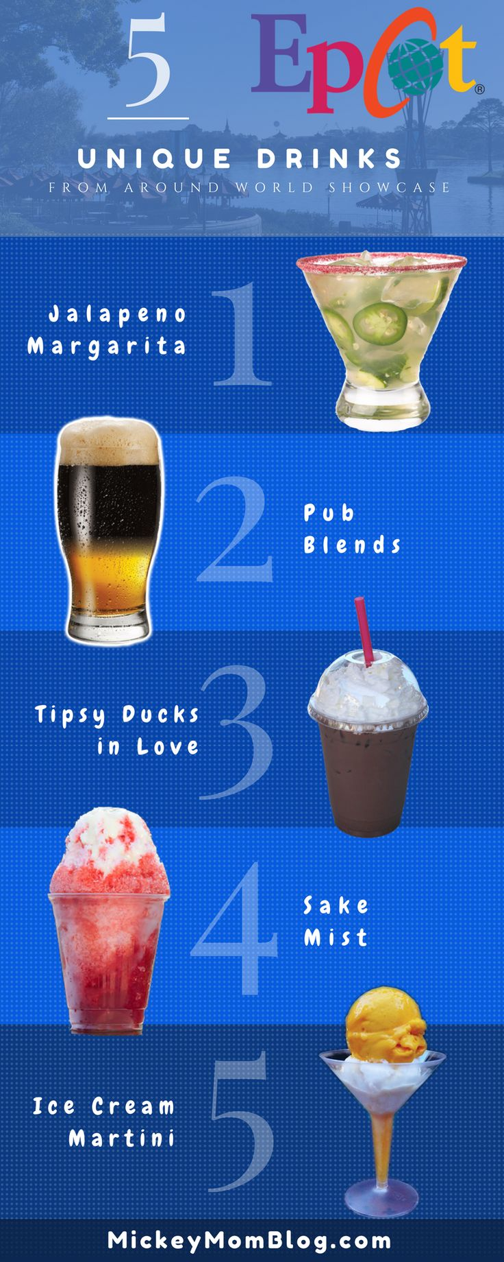 Check out our list of 5 of the more unique alcoholic beverage options available around Epcot World Showcase. Sometimes a mom (or dad) at Disney just needs a cold drink! There are tons of creative beverage options (alcoholic & non-alcoholic) throughout the Walt Disney World resort, but especially at Epcot. #disney